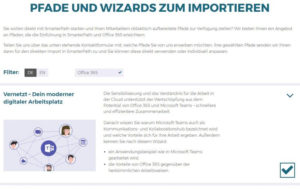 Pfade und Wizards zum Importieren